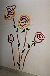"""Wandschablone mit Blumen """"junge Rosen"""""""