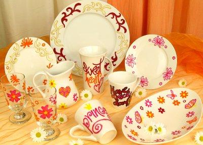 Porzellanmalerei auf Teller, Tassen, Gläser