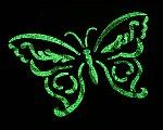 Schmetterling mit Nachtleuchtfarbe schabloniert